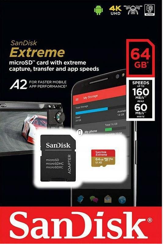 Karta pamięci SANDISK MICRO SD 64GB EXTREME (microSD XC)